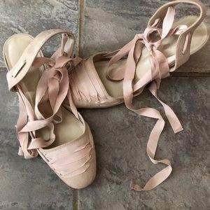 ❤️Host Pick❤️Blush Pink Ballerina ankle wrap heels
